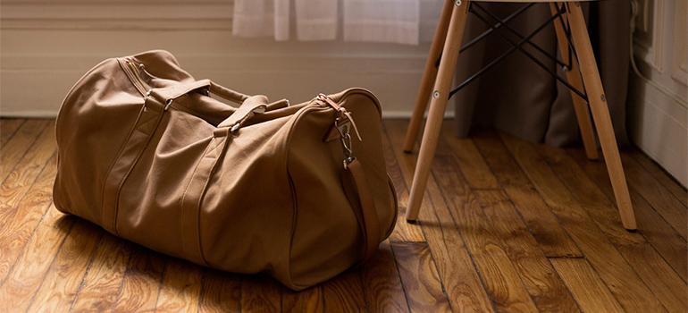 A bag on a wooden floor