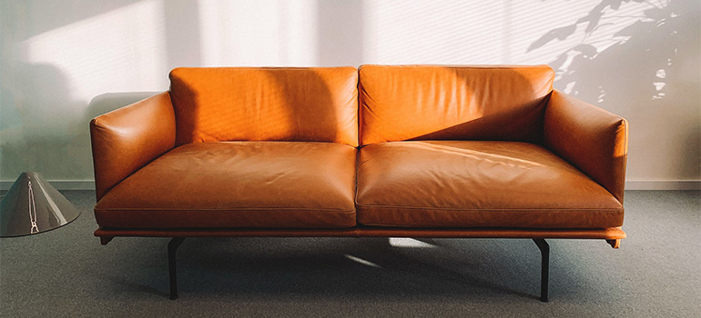 A big orange couch