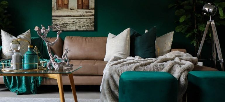 A green and brown living room