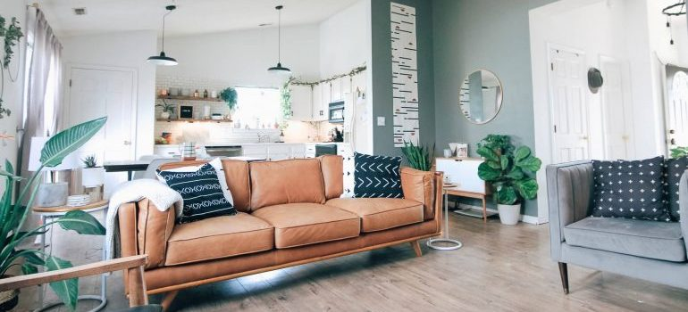 An open-space living room after arranging your furniture