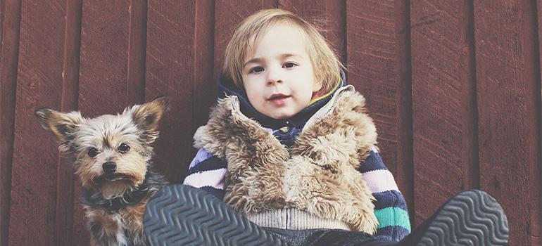 A puppy and a little boy.