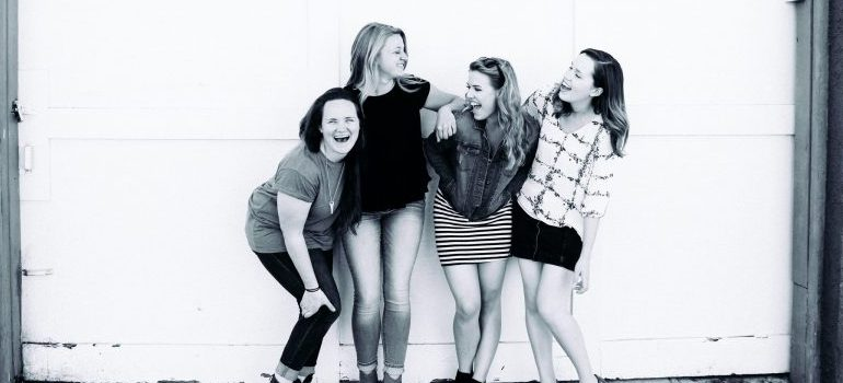 Friends laughing.