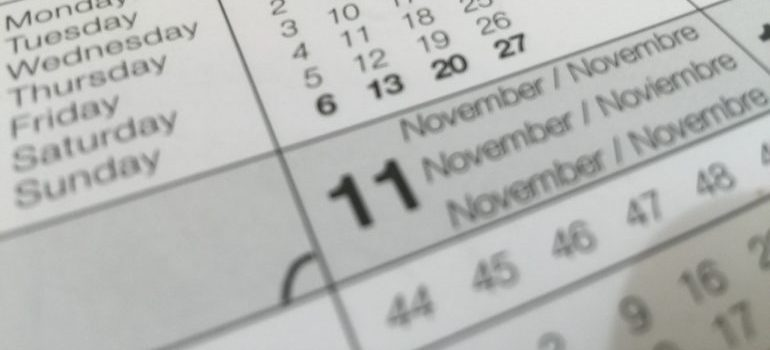 The date of the official move on a calendar.