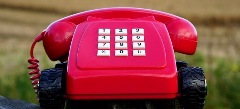 A red telephone.