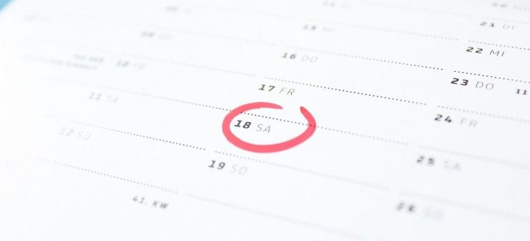 A calendar with a circled date.