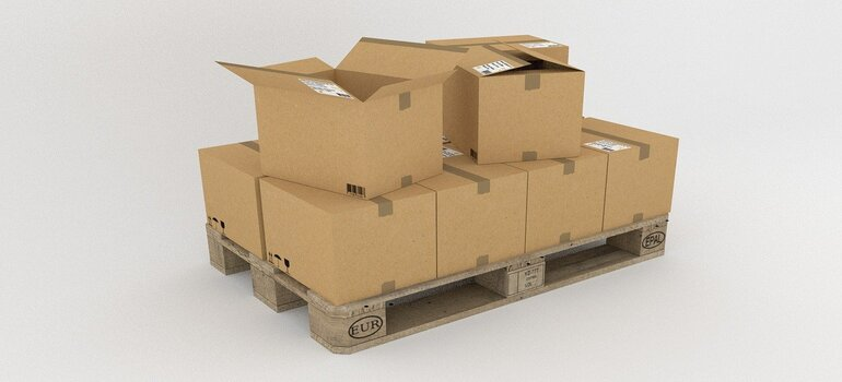 Stacked cardboard boxes.