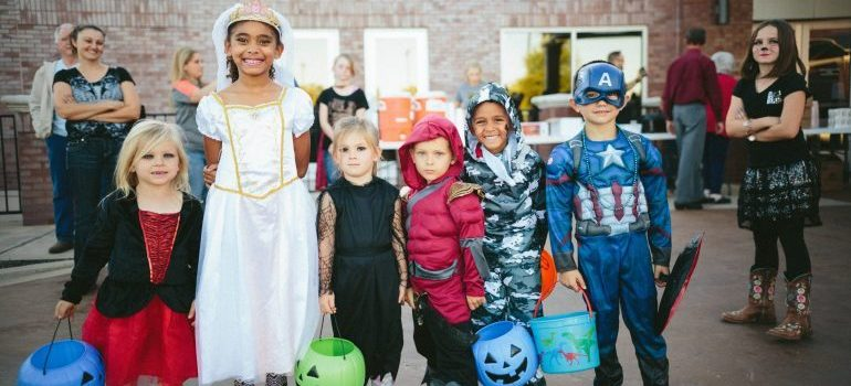 Kids in costumes.