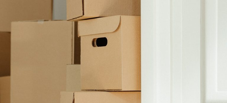 Used cardboard moving boxes.