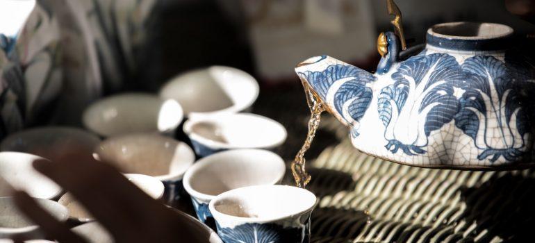 A Chinese tea set.