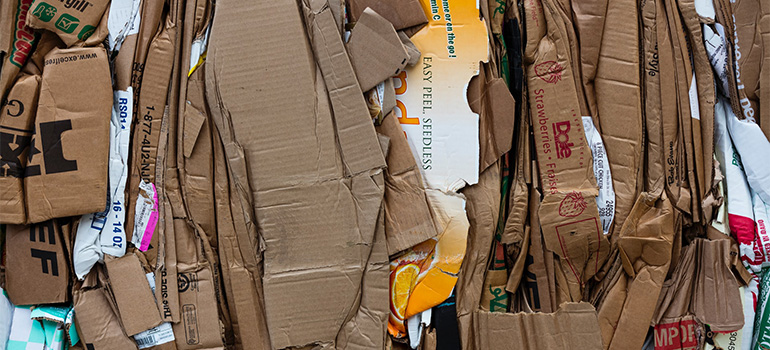 Stacked cardboard.