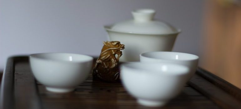 White Chinese tea cups.