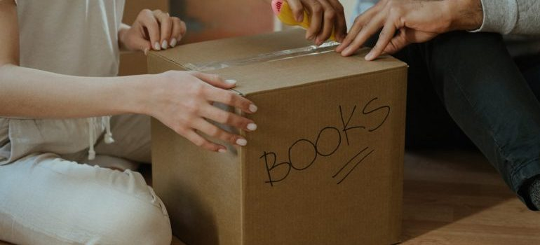 A box containing books.