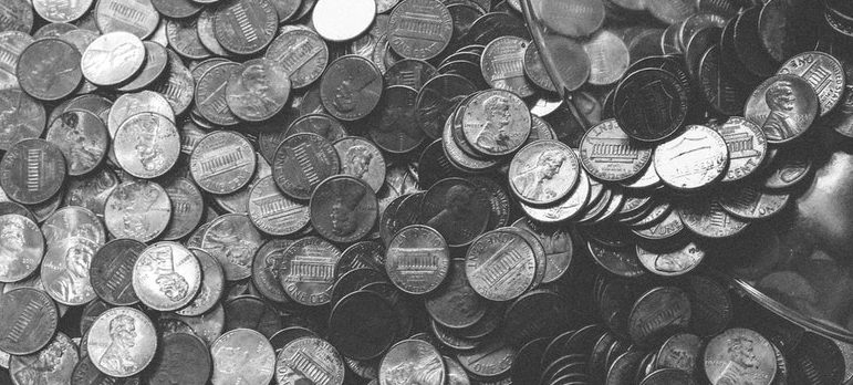 Hundreds of coins on the table
