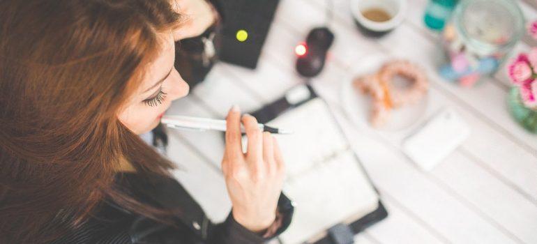 a girl creating a list