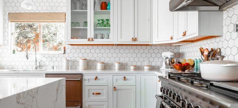 A spacious white kitchen