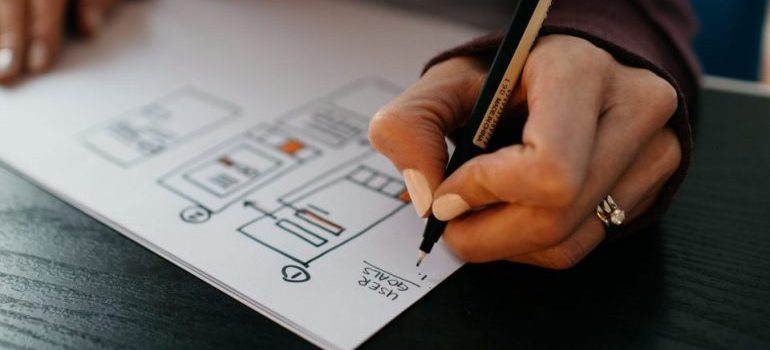 A hand of a woman drawing a plan with a pencil
