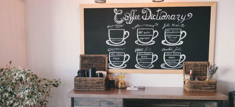 A coffee menu on a blackboard in a coffee shop.