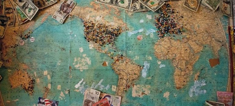 A world map with different bills