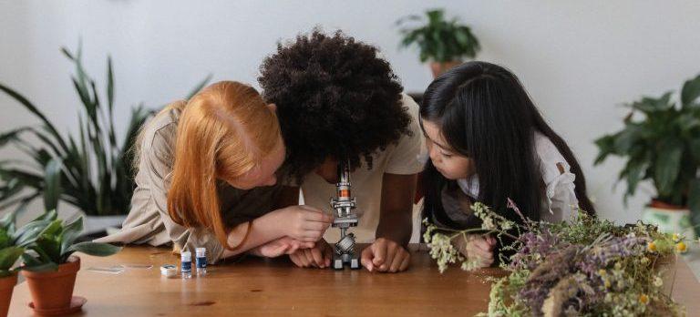 Three little girls looking through the microscope.