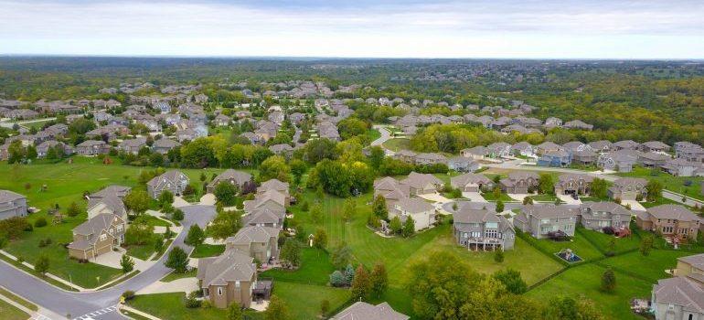 A landscape of a suburban area.