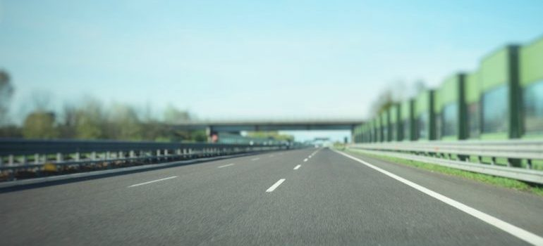 A highway and a bright blue sky