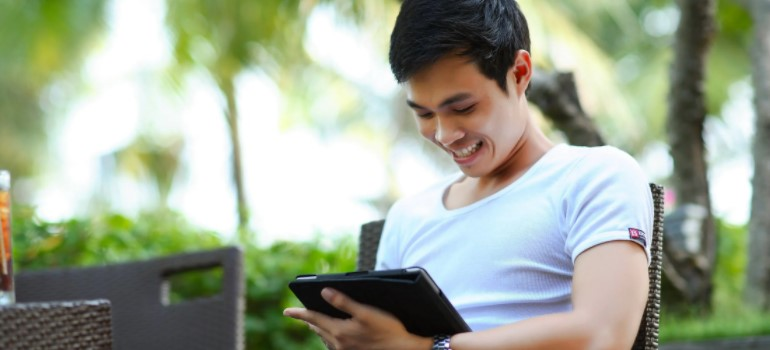 A guy with a tablet