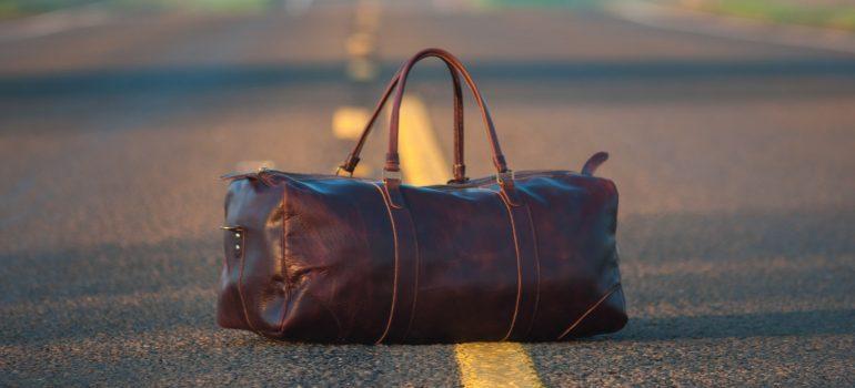 duffel bag on the road