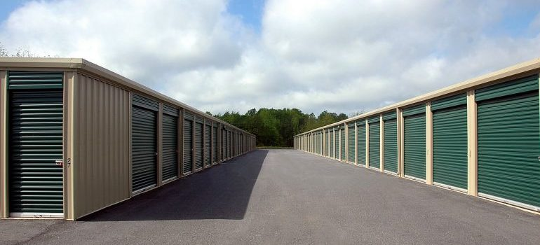 Storage units in a storage warehouse.