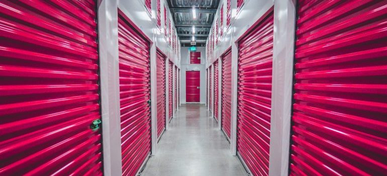 Storage facility with pink doors.