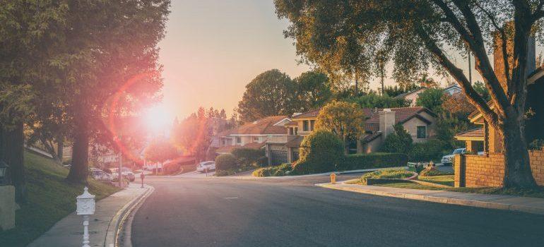 sunset on the street, houses in the nice neighborhood