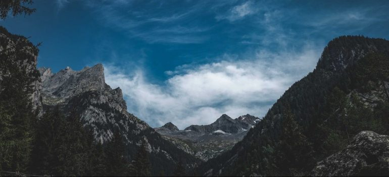a picture of mountains from beneath