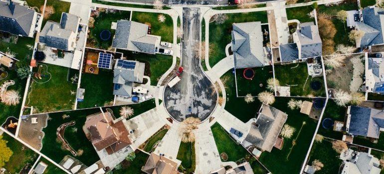 Aerial view of one neighborhood.