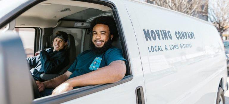 Movers in a van.